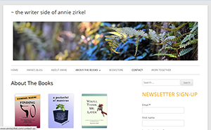 Annie Zirkel's About the Books page